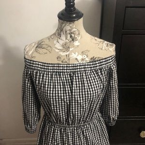 Super Cute Gingham Off The Shoulder Dress